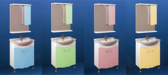 Варианты окраски мебли для ванной комнаты Laguna